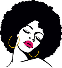 afro hair hippie woman pop art