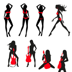 silhouettes of girls set