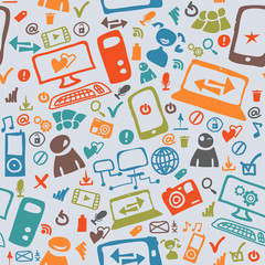 Seamless pattern of the icons on the Internet