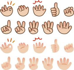 ハンドサインと指で数を表す手