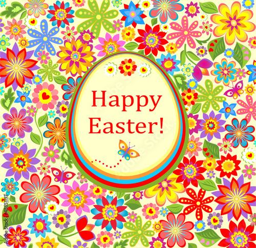 Floral greeting bright card with easter egg