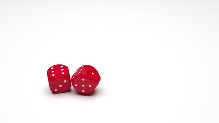 Two dice with double sixes (slow motion, with alpha channel)