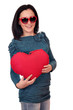 happy teenage girl with red heart on white