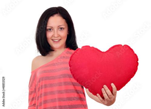 happy teenage girl with heart
