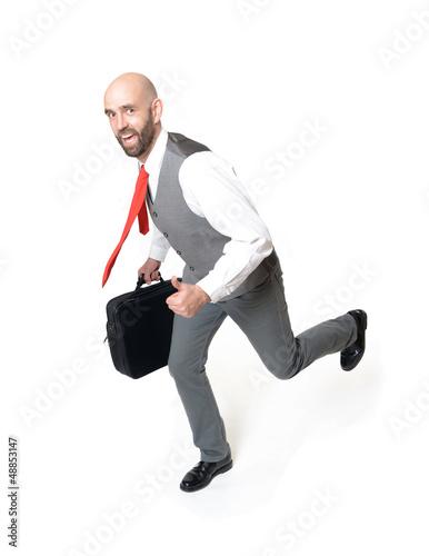 Rennender Geschäftsmann mit Daumen nach oben