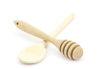 Wooden honey dipper and spoon