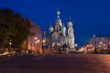 Saviour's cathedral on Blood to St. Petersburg at night