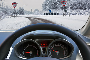 Driving a car in the snow
