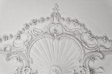 Luxury white wall design with mouldings