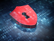 Privacy concept: Red Shield With Keyhole on digital background