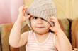 Portrait of baby wearing  knit cap