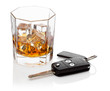 Glass of whiskey and car keys.