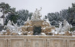 Vienna -  Neptune fountain from Schonbrunn palace in winter