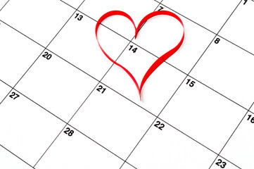 Calender page with a detail of the valentine day