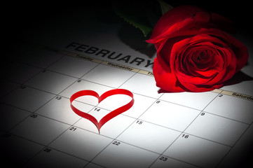 Calender page with a red rose