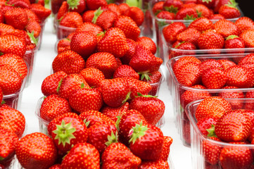 Fresh strawberries for sale in plastic containers