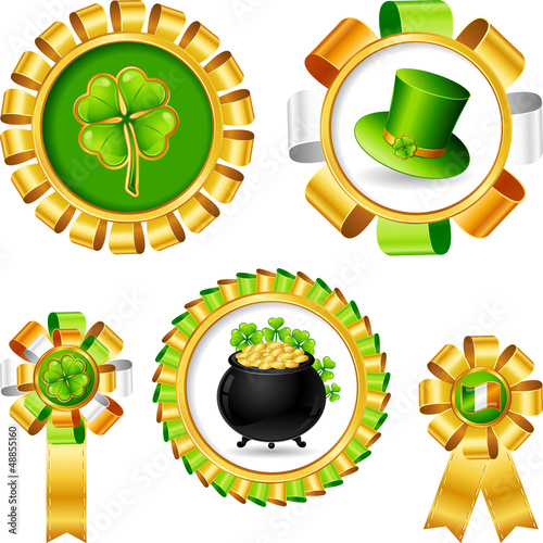 Award ribbons with Saint Patrick's day objects.