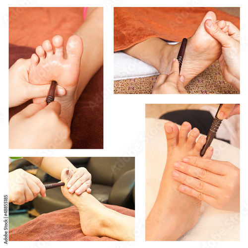 Collection of reflexology foot massage, spa foot treatment by wo