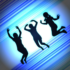 abstract background for enjoy jumping with blue light