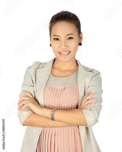 Isolated young business woman over white