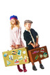 little boy and girl standing with suitcase in hand