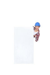 Construction worker with a blank board