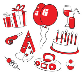 Birthday party icons set isolated on white
