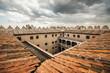 Tile roof and courtyard of the Coca Castle, Segovia (Castilla y