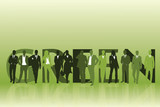Green word and group of worker people