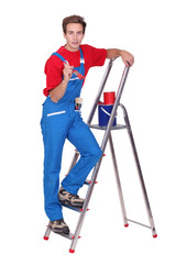 Painter with ladder and brush