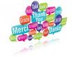 nuage de mots bulles 3d : merci traduction