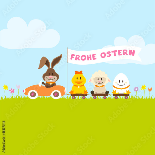 Osterhase Auto Fahne - Ente, Schaf & Ei