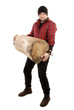 Lumberjack strong man is holding downed log