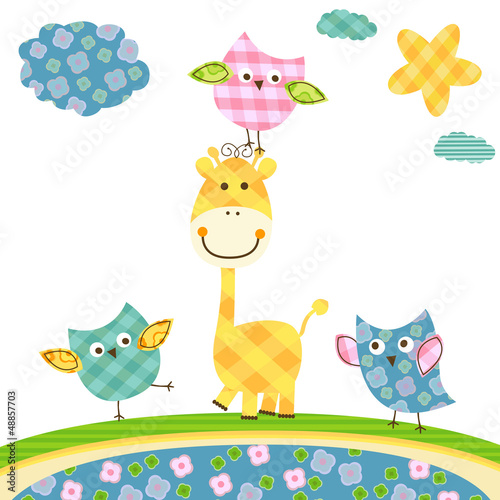 cute owls & giraffe