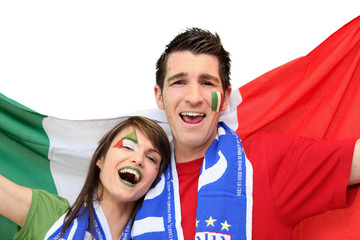 Couple of Italian football supporters