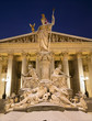 Vienna - Pallas Athena fountain and parliament in winter