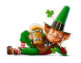 elf leprechaun with beer for saint patrick