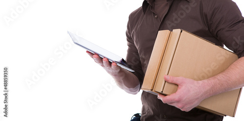 postman with tablet
