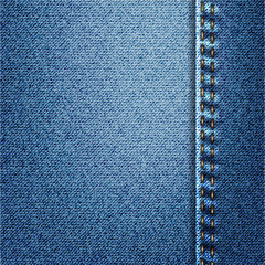Blue Jeans Denim Fabric Texture With Stitch