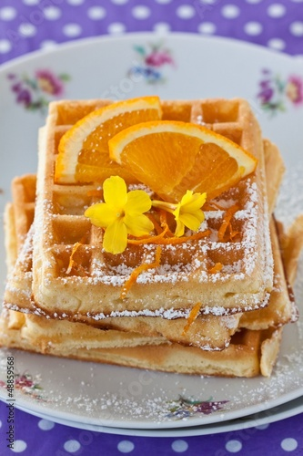 Waffles with orange