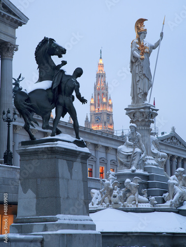 Plexiglas Fontaine Vienna - Pallas Athena fountain and parliamen in winter