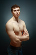 portrait of topless athletic man