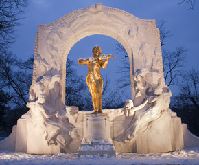 Johan Strauss memorial from Vienna Stadtpark in winter dusk