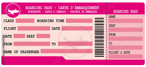 Boarding pass. PInk flight coupon.