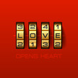 Love Opens Heart. Combination lock.