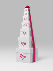 Gift boxes with heart shape. Clipping Path is included.