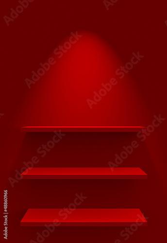 Drei Regale an Wand mit Beleuchtung - Rot