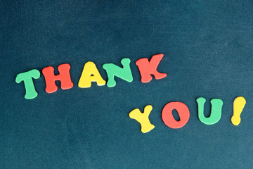 Thank you message written in colorful letters