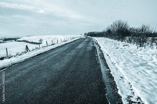 empty country snow road