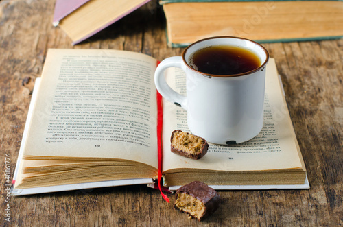 A book with a Cup of tea